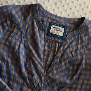 Holding Horses Gingham Blouse Sz 4 blue brown